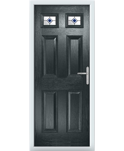 The Ipswich Composite Door in Grey (Anthracite) with Blue Fusion Ellipse