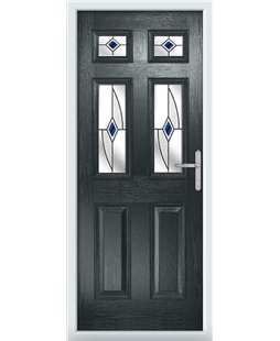 The Oxford Composite Door in Grey (Anthracite) with Blue Fusion Ellipse