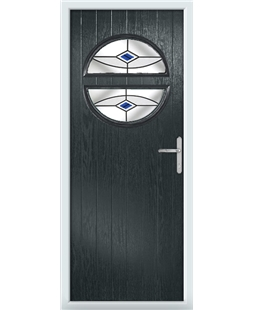 The Queensbury Composite Door in Grey (Anthracite) with Blue Fusion Ellipse