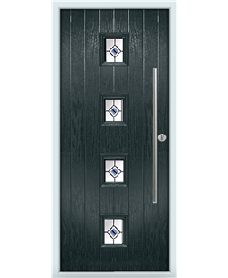 The Leicester Composite Door in Grey (Anthracite) with Blue Fusion Ellipse