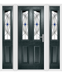 The Birmingham Composite Door in Grey (Anthracite) with Blue Fusion Ellipse and matching Side Panels