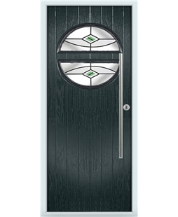 The Xenia Composite Door in Grey (Anthracite) with Green Fusion Ellipse