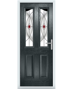 The Birmingham Composite Door in Grey (Anthracite) with Red Fusion Ellipse