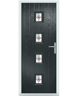 The Uttoxeter Composite Door in Grey (Anthracite) with Red Fusion Ellipse