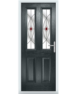 The Cardiff Composite Door in Grey (Anthracite) with Red Fusion Ellipse