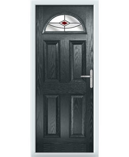 The Derby Composite Door in Grey (Anthracite) with Red Fusion Ellipse