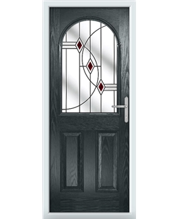 The Edinburgh Composite Door in Grey (Anthracite) with Red Fusion Ellipse