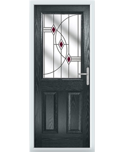 The Farnborough Composite Door in Grey (Anthracite) with Red Fusion Ellipse