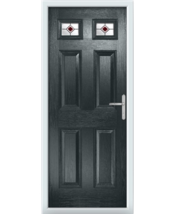 The Ipswich Composite Door in Grey (Anthracite) with Red Fusion Ellipse