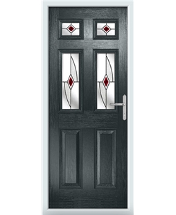 The Oxford Composite Door in Grey (Anthracite) with Red Fusion Ellipse
