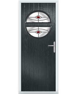 The Queensbury Composite Door in Grey (Anthracite) with Red Fusion Ellipse