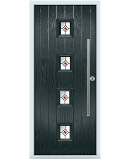 The Leicester Composite Door in Grey (Anthracite) with Red Fusion Ellipse