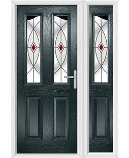 The Birmingham Composite Door in Grey (Anthracite) with Red Fusion Ellipse and matching Side Panel
