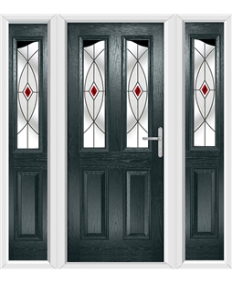 The Birmingham Composite Door in Grey (Anthracite) with Red Fusion Ellipse and matching Side Panels