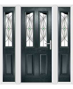 The Birmingham Composite Door in Grey (Anthracite) with Green Fusion Ellipse and matching Side Panels