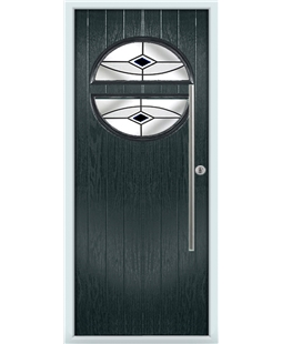 The Xenia Composite Door in Grey (Anthracite) with Black Fusion Ellipse