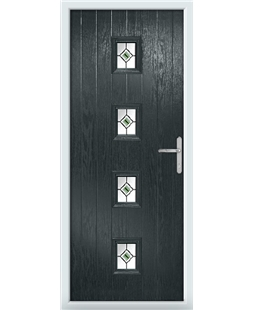 The Uttoxeter Composite Door in Grey (Anthracite) with Green Fusion Ellipse