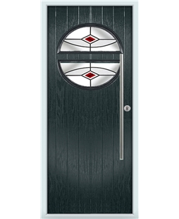 The Xenia Composite Door in Grey (Anthracite) with Red Fusion Ellipse