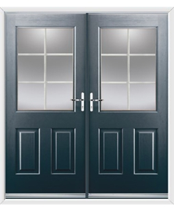 Windsor French Rockdoor in Anthracite Grey with White Georgian Bar