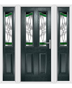 The Birmingham Composite Door in Grey (Anthracite) with Green Crystal Harmony and matching Side Panels