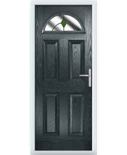 The Derby Composite Door in Grey (Anthracite) with Green Diamonds
