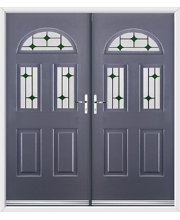 Tennessee French Rockdoor in Anthracite Grey with Green Diamonds
