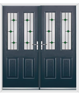 Jacobean French Rockdoor in Anthracite Grey with Green Diamonds