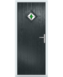The Reading Composite Door in Grey (Anthracite) with Green Diamonds