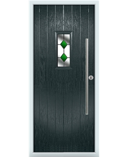 The Zetland Composite Door in Grey (Anthracite) with Green Diamonds