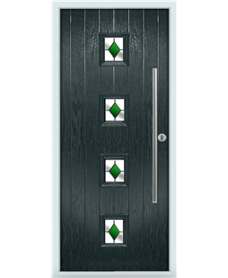 The Leicester Composite Door in Grey (Anthracite) with Green Diamonds