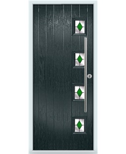 The Norwich Composite Door in Grey (Anthracite) with Green Diamonds