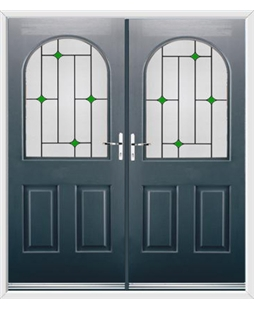 Kentucky French Rockdoor in Anthracite Grey with Green Diamonds
