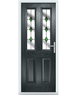 The Cardiff Composite Door in Grey (Anthracite) with Green Diamonds