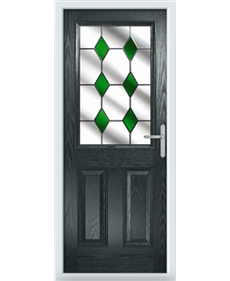 The Farnborough Composite Door in Grey (Anthracite) with Green Diamonds