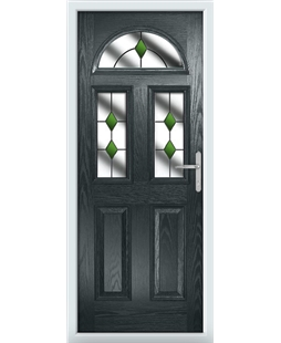 The Glasgow Composite Door in Grey (Anthracite) with Green Diamonds