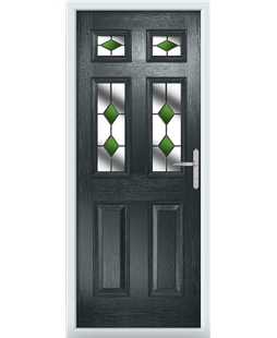 The Oxford Composite Door in Grey (Anthracite) with Green Diamonds