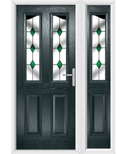 The Birmingham Composite Door in Grey (Anthracite) with Green Diamonds and matching Side Panel