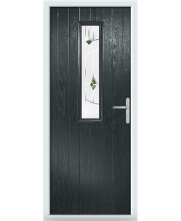 The Sheffield Composite Door in Grey (Anthracite) with Green Murano