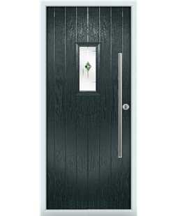 The Zetland Composite Door in Grey (Anthracite) with Green Murano