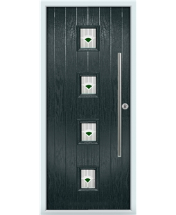 The Leicester Composite Door in Grey (Anthracite) with Green Murano
