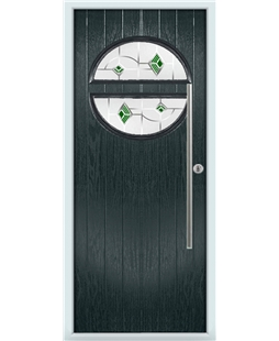 The Xenia Composite Door in Grey (Anthracite) with Green Murano
