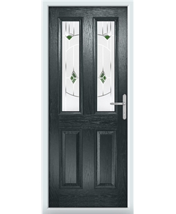 The Cardiff Composite Door in Grey (Anthracite) with Green Murano