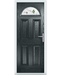The Derby Composite Door in Grey (Anthracite) with Green Murano