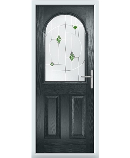 The Edinburgh Composite Door in Grey (Anthracite) with Green Murano