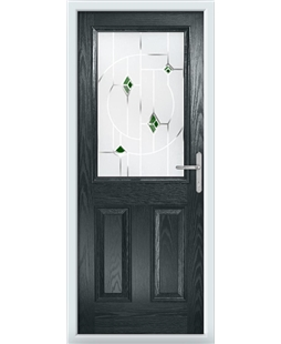 The Farnborough Composite Door in Grey (Anthracite) with Green Murano