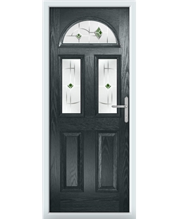 The Glasgow Composite Door in Grey (Anthracite) with Green Murano
