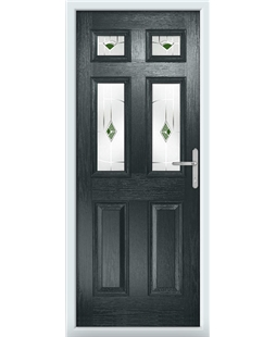The Oxford Composite Door in Grey (Anthracite) with Green Murano