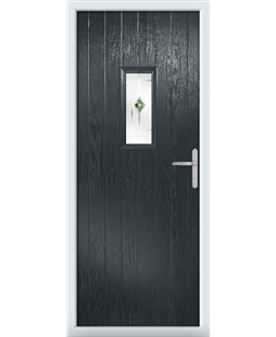 The Taunton Composite Door in Grey (Anthracite) with Green Murano