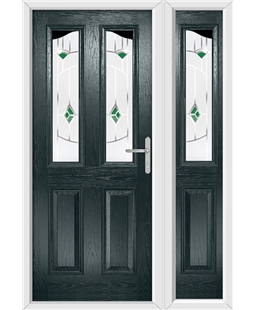 The Birmingham Composite Door in Grey (Anthracite) with Green Murano and matching Side Panel