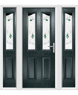 The Birmingham Composite Door in Grey (Anthracite) with Green Murano and matching Side Panels